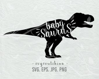 Baby Saurus SVG dinosaur Baby File Silhouette Cut File Cricut Clipart Print Design Template Vinyl wall decor, sticker dinosaur svg
