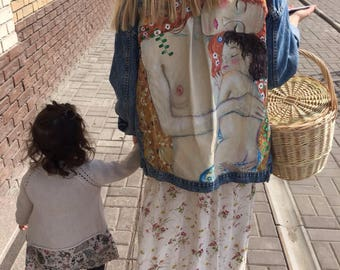 "Hand painted denim jacket Gustav Klimt ""Three ages of woman"" (! Please read the description !)"