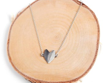 Heart-Leaves Small Pendant on Chain - Oxidized Sterling Silver Pendant - Silver Chain Necklace - Nature Inspired Jewelry - Perfect Gift