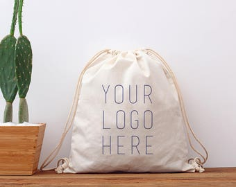 Personalized drawstring bag custom cotton drawstring backpack bag dance bag, Drawstring Gym Bag canvas swimming bag, school bag 6-Pack