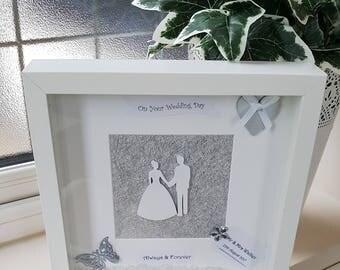 Wedding Gift - Handmade Beautiful Personalised Deep Box Frame