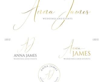 photography logo and watermark calligraphy logo gold premade logo script logo wedding planner logo premade branding kit wedding logo 065