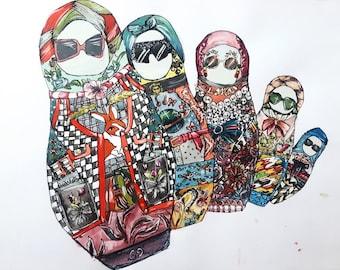 Original Fashion Illustration - Gucci - Russian Nesting Dolls - Matryoshka Doll - Watercolor - Watercolor Painting