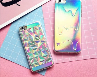 Luxury Bright Hologram Geometric Case Holographic Iridescent Card Rainbow Triangle Pastel Melting Soft Case iPhone 7 7 Plus 6 6S 5 5S SE