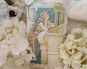 Vintage Mermaid Sachet with Ivory Lace