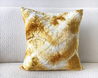 Gold White Velvet Euro Sham 26x26 pillow cover 24x24 22x22 28x28 Gold Shibori pillow sham, Gold Chevron Pillow 24x24 Tie Dye