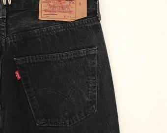 Vintage LEVIS 501 jeans / black denim trousers / mom jeans / straight leg / maxi stonewash jeans / button fly / m / 1990s