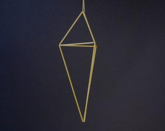 Teardrop Shaped Brass Himmeli — Medium — 3-Sided Hanging Decor   Gold Ornament   Modern Decor   Air Plant Planter   Geometric Wedding