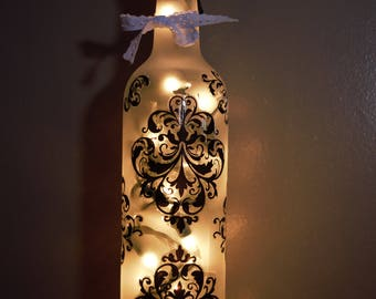 Decorated Bottle, Flower Vase or Night Light