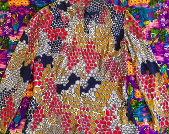 Vintage Psychedelic Geometric Abstract Hexagon Beehive Groovy Shirt Red Blue Gold