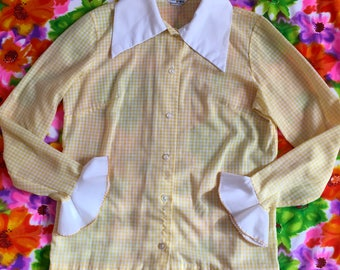 Vintage Yellow White Gingham Long Sleeve Shirt With Big White Collar and Circular Flounce Cuffs
