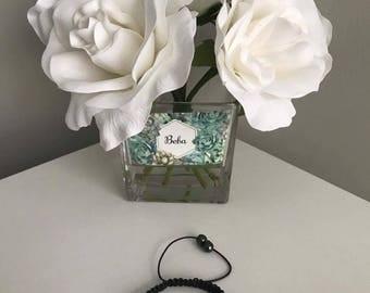 Shamballa Light Blue & Clear Czech Crystal Bracelet
