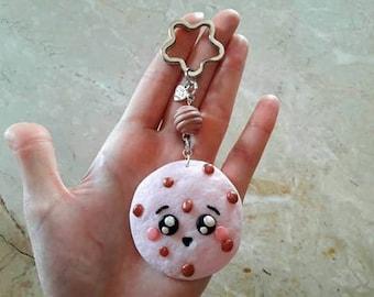 Pink Flower and Bead key ring. Kawaii Pink cookies in resin. HANDMADE