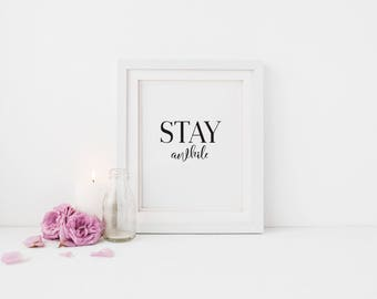 Stay Awhile Guest Room Wall Print - Wall Art, Bedroom Print, Minimalist Print, Personal Print, Home Decor, Typography Print, Spare Room
