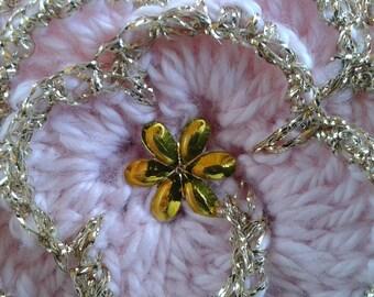 handmade crochet pink way flower in wool