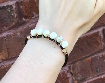 Stone-Wrapped Leather Bracelet