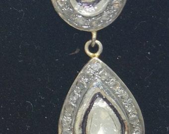 Victorian style 2.40 ctw rose cut diamonds and uncut polki diamonds sterling silver Statement Wedding earrings danglers- SKU PJ110806