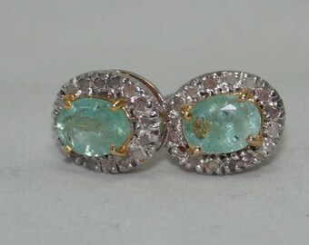 Classy 1.5cts natural  pave diamonds with light green emeralds sterling silver earrings studs - PJER207