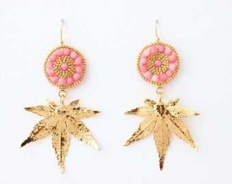 24k gold plated leaf earrings with coral