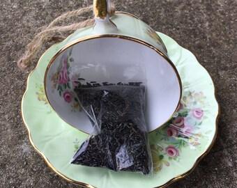 Green Floral Teacup Bird Feeder