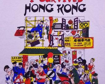 Vintage 80s 90s Hong Kong Tourist China T Shirt Size Large
