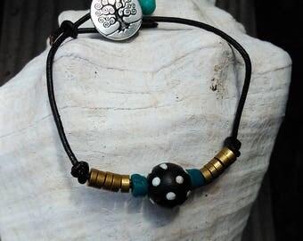 Trade Bead Bracelet, Leather Bracelet, Women's Bracelet, Women's Jewelry, Hippie Jewelry, Beach Jewelry, Black and Turquoise Bracelet
