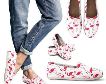 Custom Shoes - Womens casual canvas shoes - Flamingos