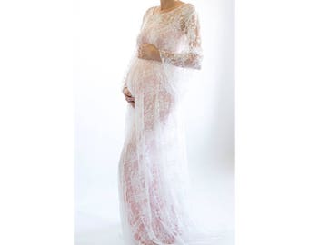 PRIMROSE Baby Shower Dress Lace Maternity Dress Lace Gown for Baby Shower Lace Baby Shower Dress Maternity Photoshoot Gown Lace Wedding Gown
