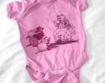 3 little kittens pink onesie