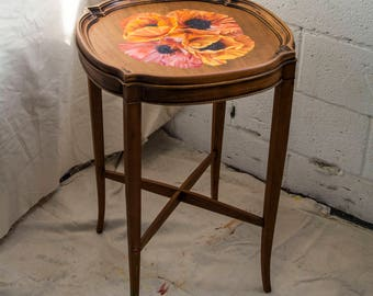 Hand Painted Mahogany California Poppy Table