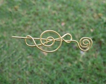 Plain Brass Hair Stick, Metal Hair Clip, Hair Pin, Hair Barrette, Shawl Pin Hair Accessories for Women Mom Gift for Her, Small Medium Slide