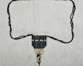 Hand Made Glass Beaded Pouch Necklace/ Mojo bag Black/Yellow/White