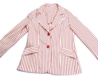 Vintage candy cane red striped 60s/70s blazer/suit jacket with red buttons