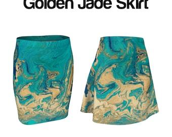 Golden Jade Fluid Painted Skirt