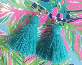 Short Trendy Tassel Earrings, Fringe Tassel Earrings, Turquoise, Blue, Green