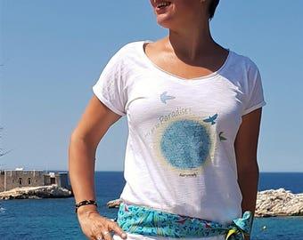"T-shirt ""Paradise"" - clearance price - fair woman 100% organic cotton t-shirt - birds"