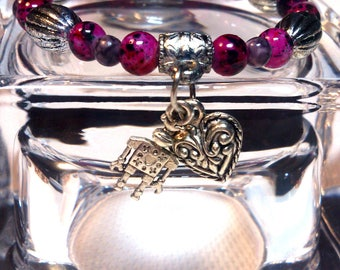 Bracelet-Beads silver and purple-Pendant/pendant/Charm heart and Robot