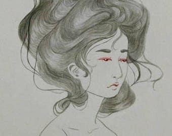 """Original Watercolour Illustration """"Breath"""""""