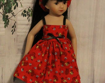 Mini Maru doll is not included. Red Flowers Dress  and Headband. Handmade Clothes fit dolls the same size as Wellie Wisher and Mini-Maru.