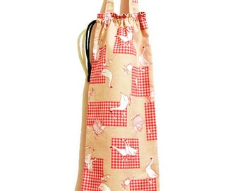 """Bread, baguette purse bag, lined cotton """"ladies geese running around"""""""