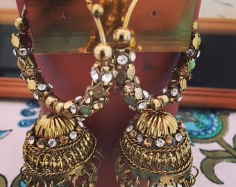 Ethnic Indian Jhumkas. Gold/Copper feel.