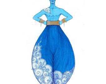 Watercolor Costume Illustration- Genie