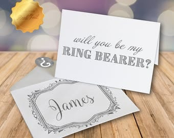 Will you be my Ring Bearer Card/ Ring Bearer proposal/ Gold foil card/ Wedding party card/ Personalized card