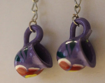 Hand Painted Miniature Cups Earrings