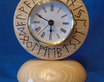 Handmade Wooden *Viking Rune Clock* in Ash, will look stunning in any room, Dinning Room, Living room,Mantle Piece,also makes a lovely Gift.