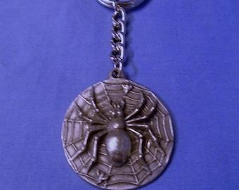 Handmade Pewter Keyring  * Spiders Web*  Full of wonderful detail.   Holds lots of Keys.