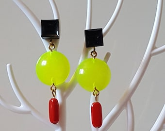 Neon yellow and Red Black earrings