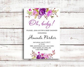 Oh baby shower invitation, floral baby shower invitation, baby shower invite, girl baby shower, instant download, watercolor invite, boho
