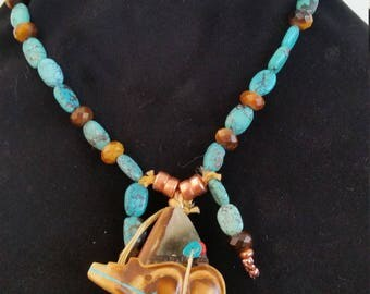 Brown Bear Pendant / Turquoise and Copper Necklace / Western Jewelry / Native Inspired / Zuni / Kingman / Copper / Magnet / Bear Fetish