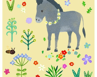 Little donkey and flowers 8 x 10 print - nursery art, kids print, children and baby